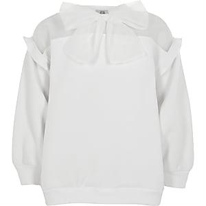 Weißes Sweatshirt mit Schleife aus Organza für Mädchen