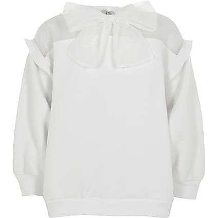 Girls white organza bow sweatshirt