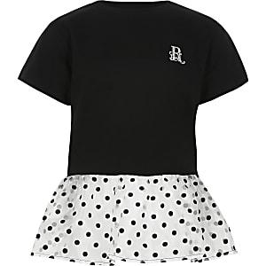 Zwart T-shirt met organza peplum met stippen voor meisjes