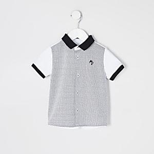 Mini - Wit overhemd met kleurvlakken en korte mouwen voor jongens