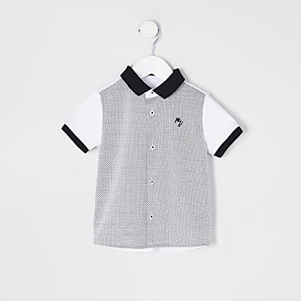 Mini boys white blocked short sleeve shirt