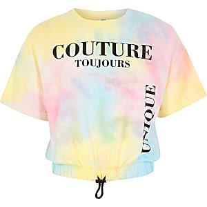T-shirt avec cordon rose tie and dye imprimé pour fille