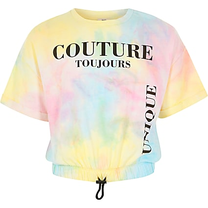 Girls pink tie dye printed drawstring T-shirt