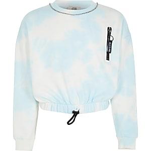 Blauwe tie-dye crop sweater met siersteentjes voor meisjes