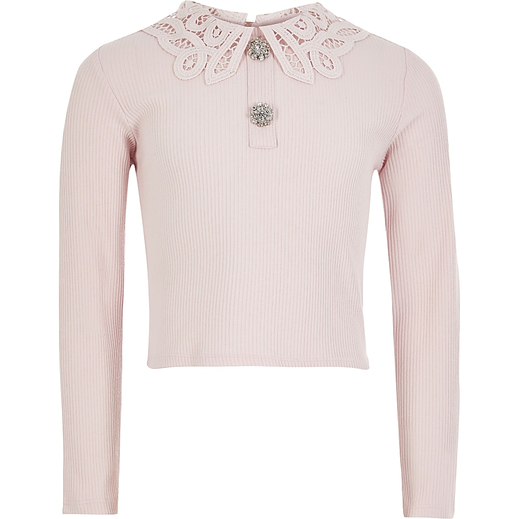 Girls pink broderie collar ribbed top
