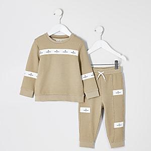Mini – Beiges Sweatshirt-Outfit mit Tape für Jungen