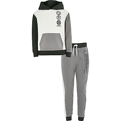 Boys ecru colour blocked hoodie outfit