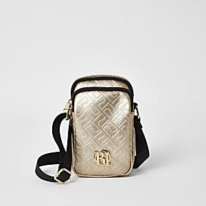 Gouden crossbodytas met RI-logo in reliëf voor meisjes