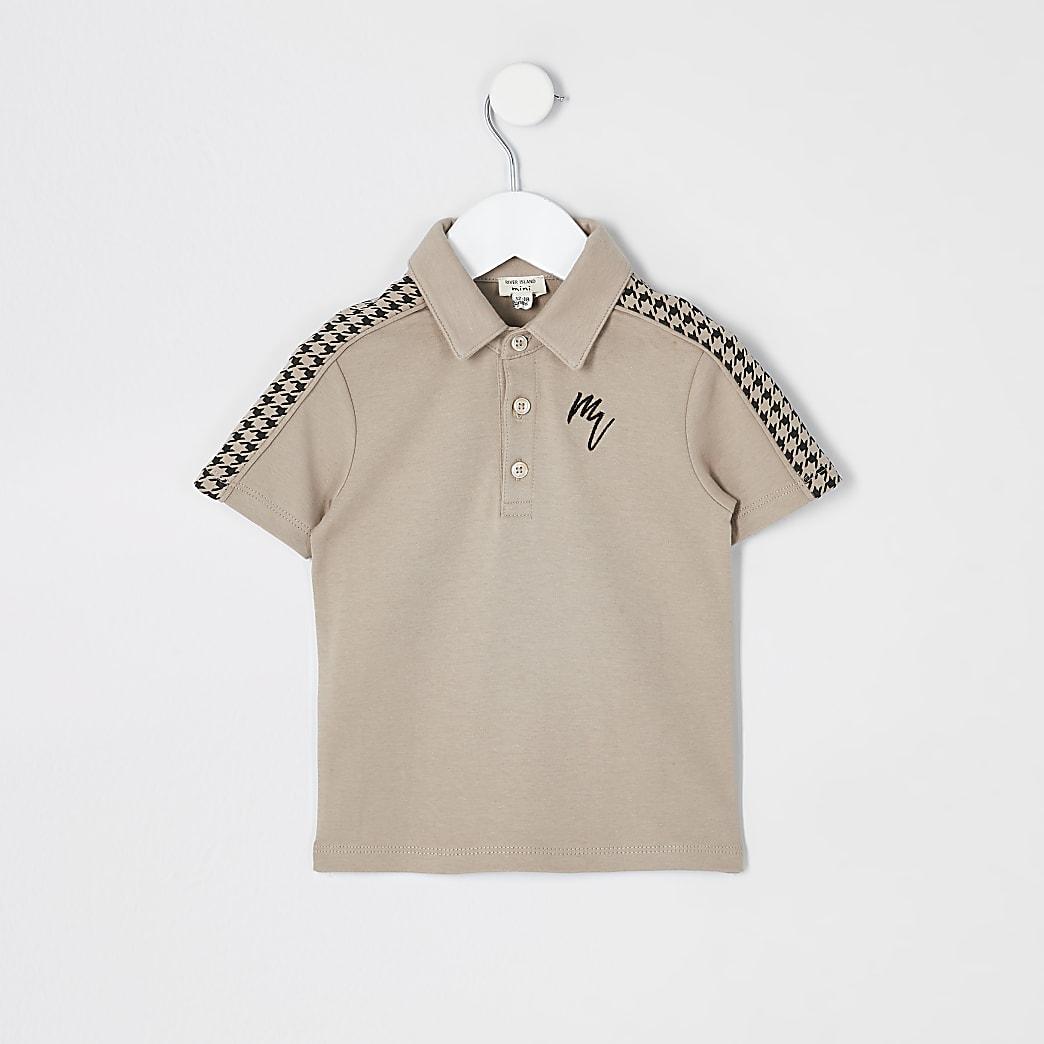 Mini boys stone dogtooth tape polo shirt