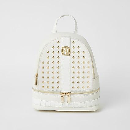 Girls white studded backpack