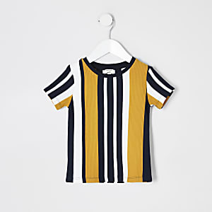 Mini-T-Shirt mit Streifenmuster in Marineblau für Jungen