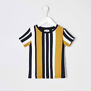 Mini - Marineblauw textuurrijk T-shirt voor jongens