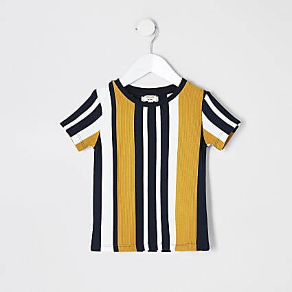 Mini boys navy stripe textured T-shirt