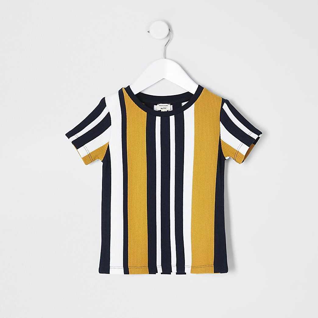 Mini boys navy stripe textured T-shirt