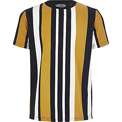 Boys navy stripe textured T-shirt