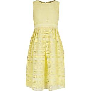 Chi Chi – Robe en crochet dentelle jaune pour fille