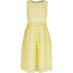 Chi Chi - Gele gehaakte kanten jurk voor meisjes