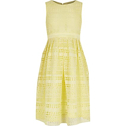 Girls Chi Chi yellow crochet lace dress