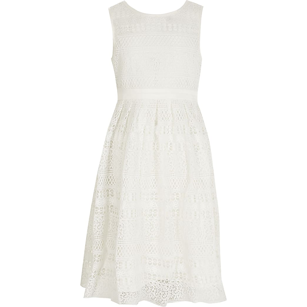 Girls Chi Chi white crochet tie back dress