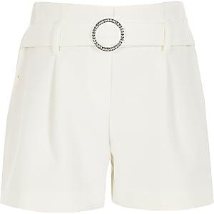 Shorts blancs avec ceintureà strass pour fille