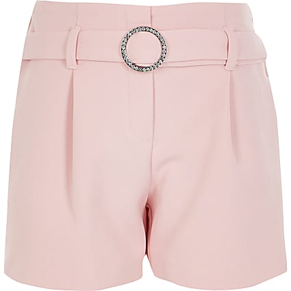 Girls pink diamante belted shorts
