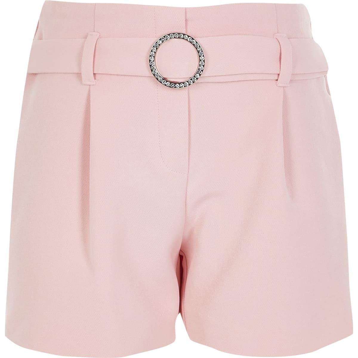 Girls pink diamante belted shorts