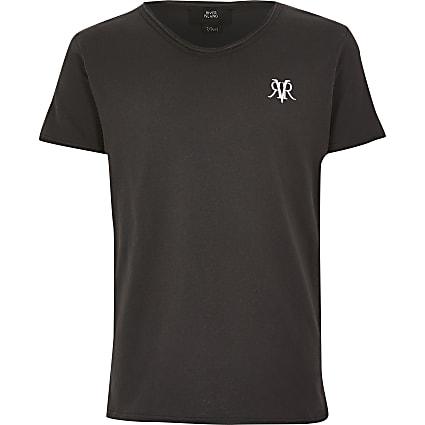 Boys grey RVR voop neck T-shirt