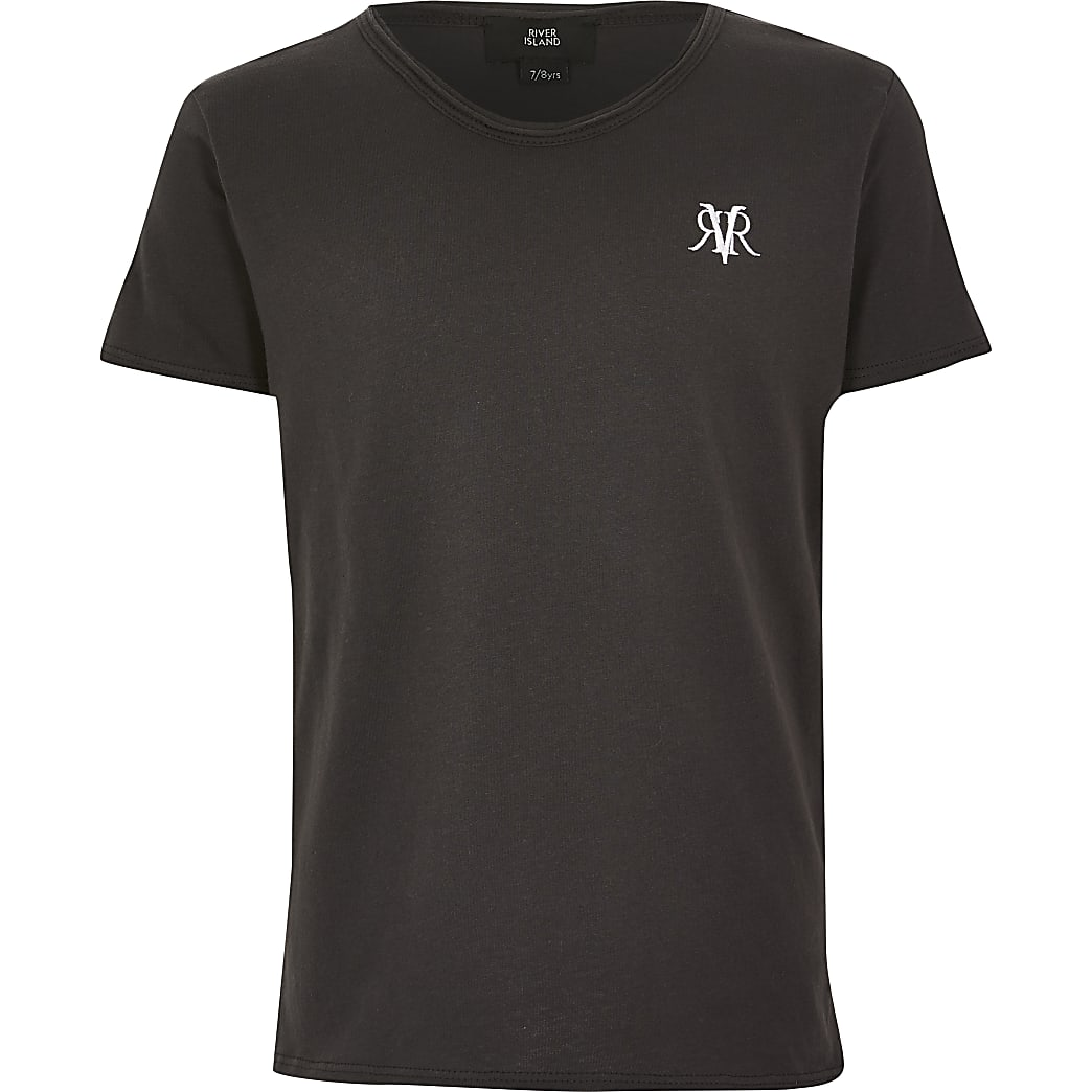 Boys grey RVR voop neck T-shirt