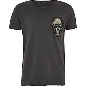 Steingraues T-Shirt mit Totenkopf-Applikation für Jungen