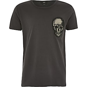 Grijs T-shirt verfraaid met doodshoofd voor jongens