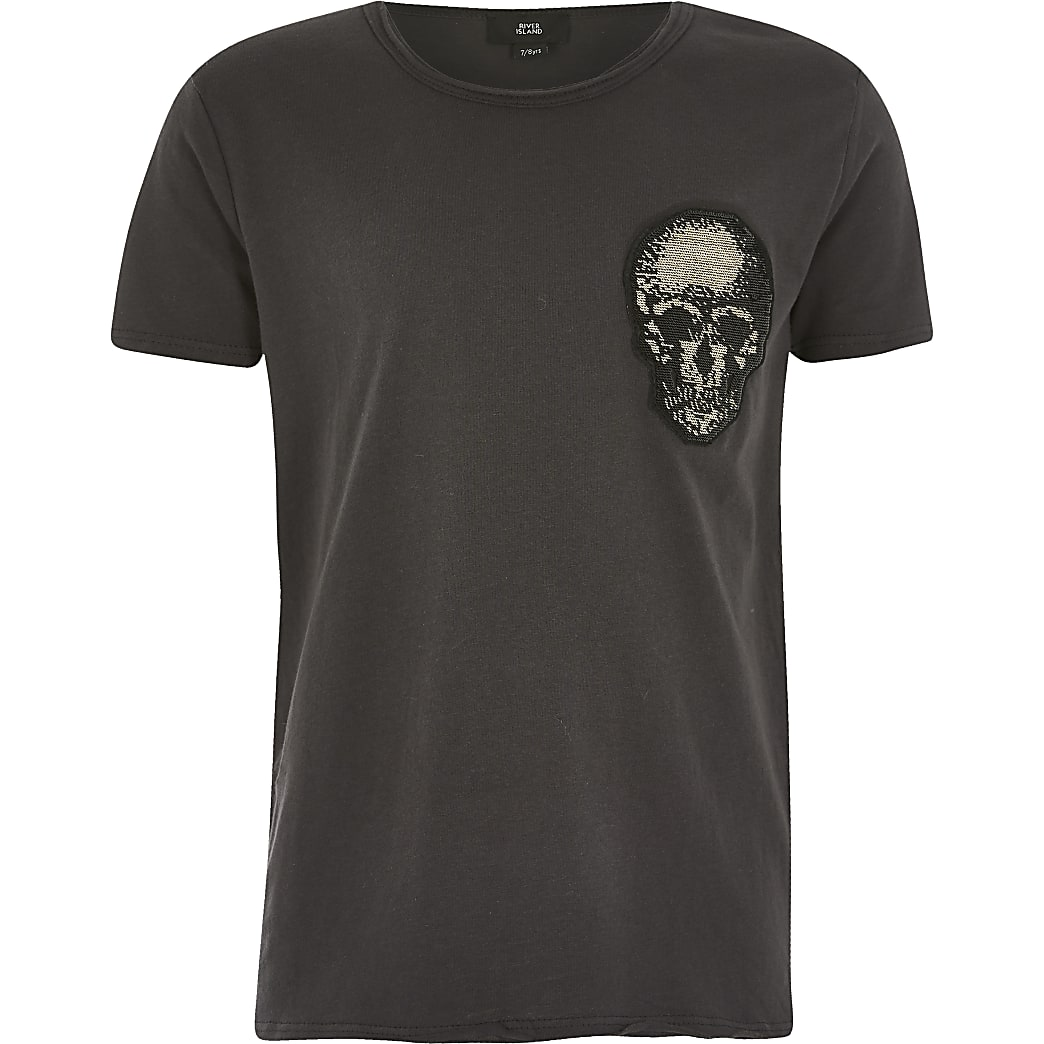Boys grey skull embellished T-shirt