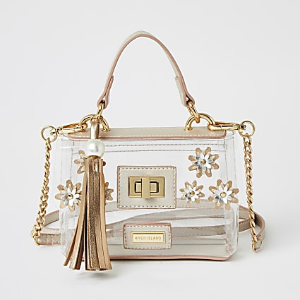 Girls pink flower embellished satchel