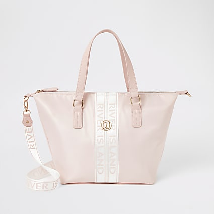 Girls pink RI tape shopper tote bag