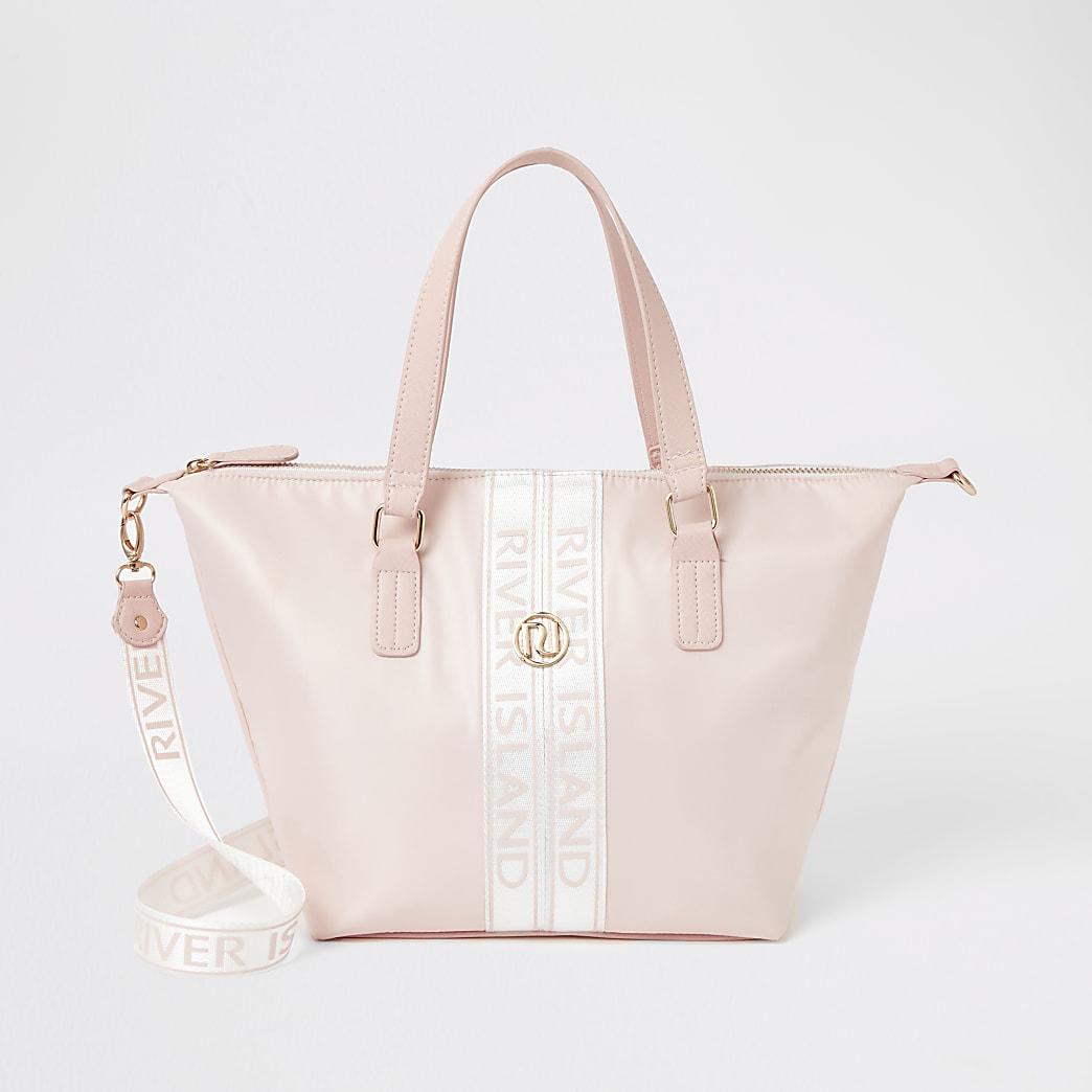 Girls pink RI tape shopper tote bag