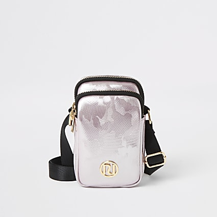 Girls pink metallic jacquard cross body bag