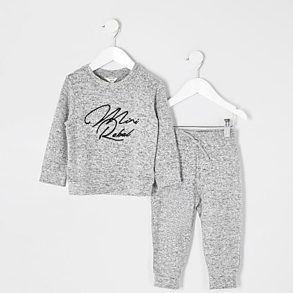 Mini boys grey 'Mini rebel' sweatshirt outfit