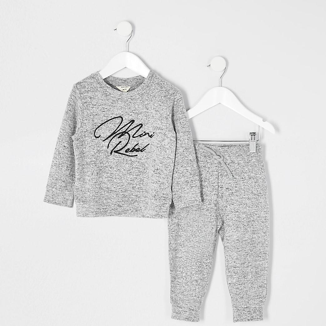 Mini - Grijze sweater outfit met 'Mini rebel'-print voor jongens