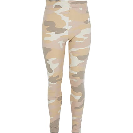 Girls beige camo RI fold over waist leggings
