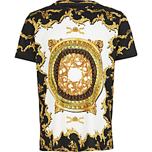 Schwarzes T-Shirt mit Barock-Print für Jungen