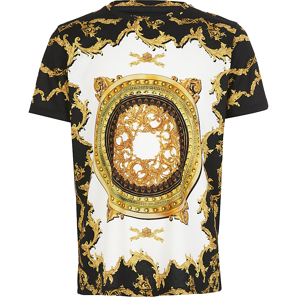 Boys black baroque print T-shirt