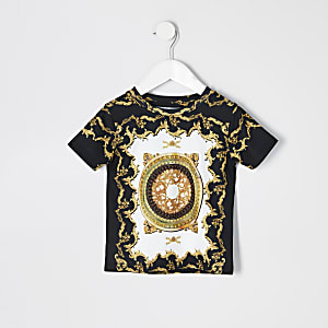 Mini - Wit T-shirt met barokprint en korte mouwen voor jongens