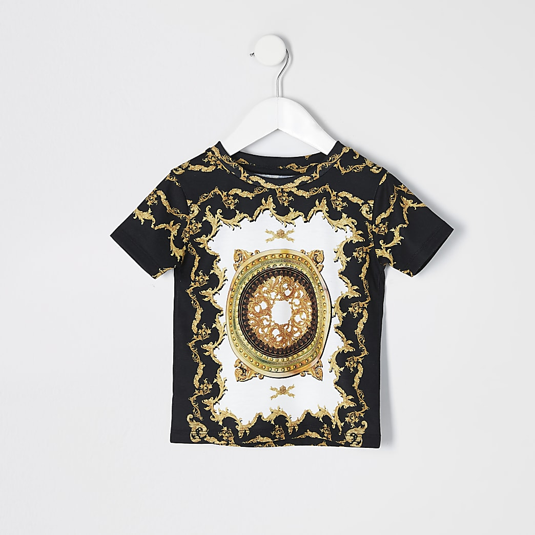 Mini boys white baroque short sleeve T-shirt