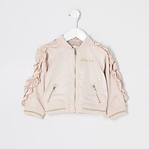 Mini girls pink frill sleeve bomber jacket