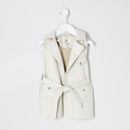Mini girls cream suedette sleeveless jacket