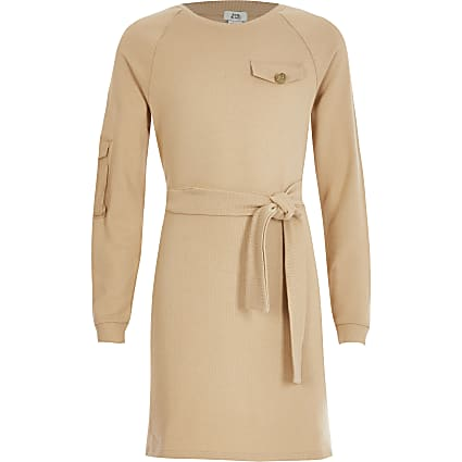 Girls beige belted utility sweat dress