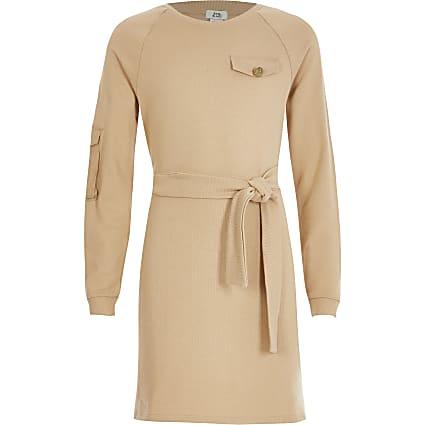 Girls beige belted utility sweat dress