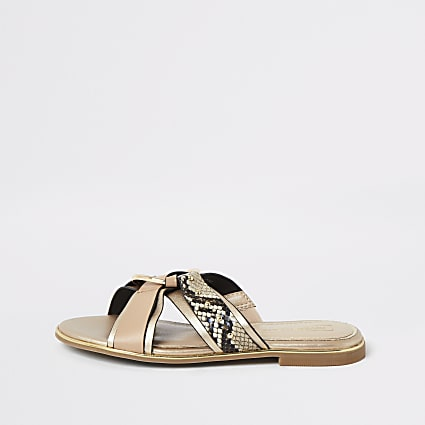 Girls brown snake printed cross over sandals