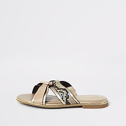 Girls brown snake printed cross over sandals