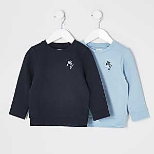 Mini - Set van 2 blauwe sweaters met 'rebel'-tekst voor jongens