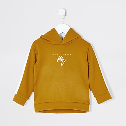 Mini boys mustard Mini Rebel tape hoodie